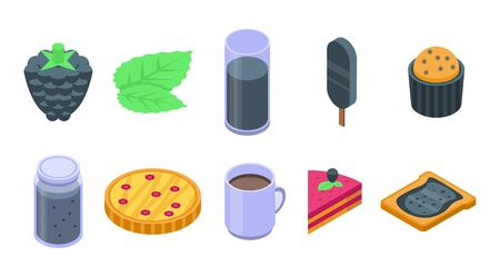 Blackberry icons set, isometric style
