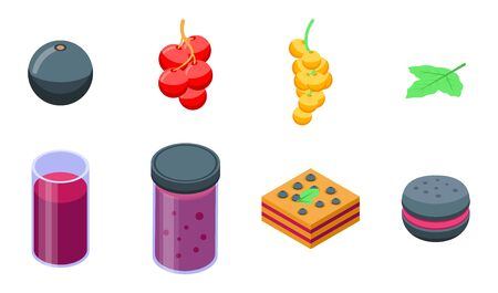 Currant icons set, isometric style Stock Illustratie