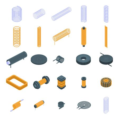 Coil icons set, isometric style