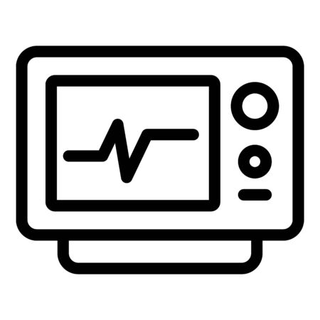 Heart rate monitor icon, outline style Illustration