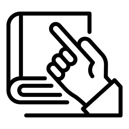 Hand and book of laws icon, outline style Çizim