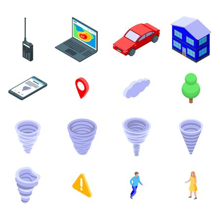 Tornado icons set, isometric style Stock Illustratie