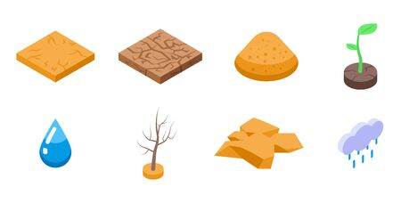Drought icons set, isometric style  イラスト・ベクター素材