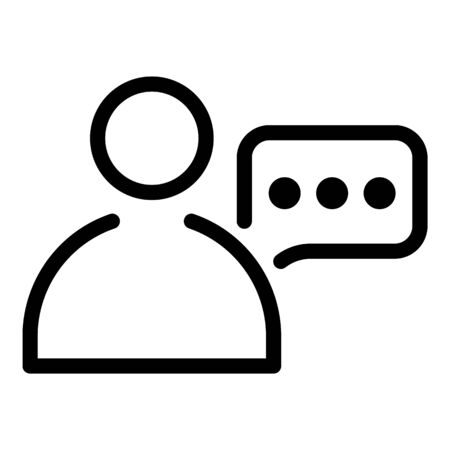 Man and chat bubble icon, outline style