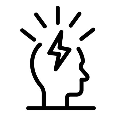 Lightning in the head icon, outline style Vector Illustration