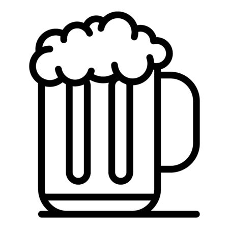 Mug of beer with foam icon, outline style Illustration