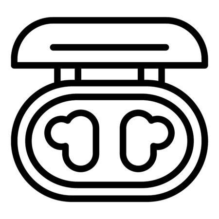Headphone charging box icon, outline style 일러스트