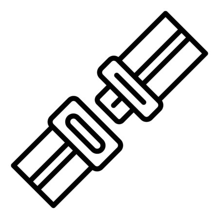 Unfastened seat belt icon, outline style Illustration
