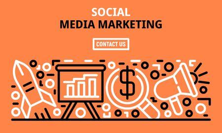 Social media marketing banner, outline style