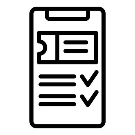 Smartphone ticket purchase icon, outline style