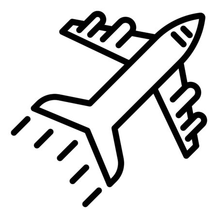 Airplane icon, outline style  イラスト・ベクター素材