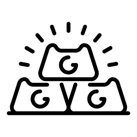 Gold bars icon, outline style Ilustração
