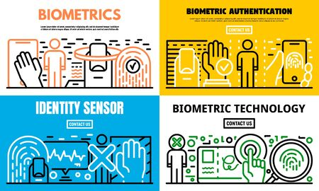 Biometric recognition banner set, outline style Иллюстрация