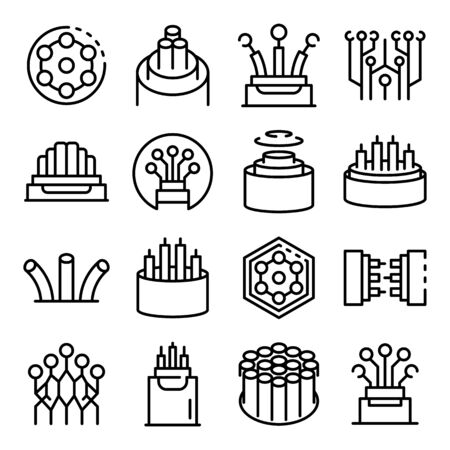 Optical fiber icons set, outline style  イラスト・ベクター素材