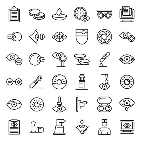 Eye examination icons set, outline style