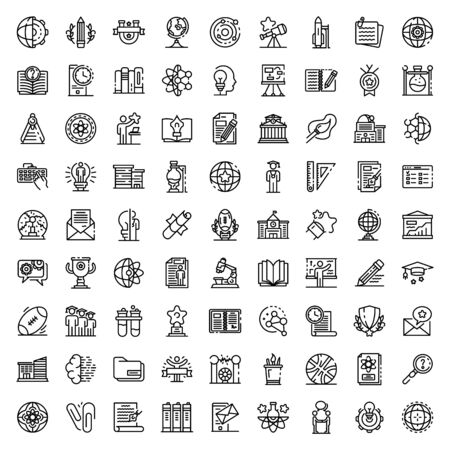 University icons set, outline style