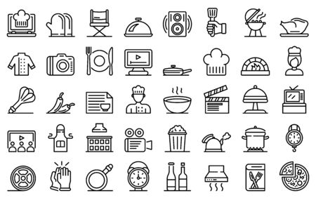 Cooking show icons set, outline style
