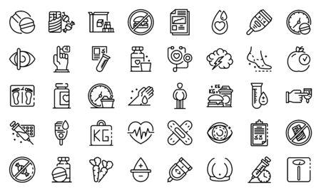 Diabetes icons set, outline style