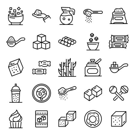 Sugar icons set, outline style Ilustração
