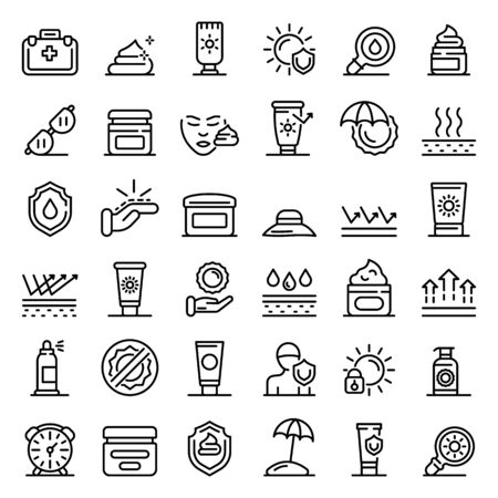 NAME icons set, outline style 向量圖像
