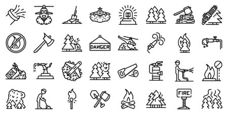 Wildfire icons set, outline style Stock Illustratie
