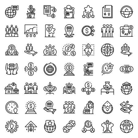 Franchise icons set, outline style