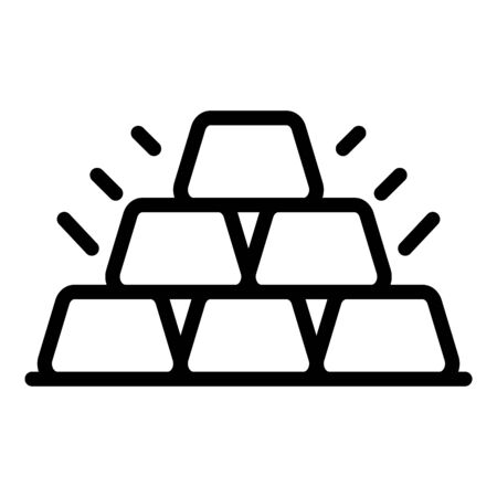 Six gold bars icon, outline style Illustration