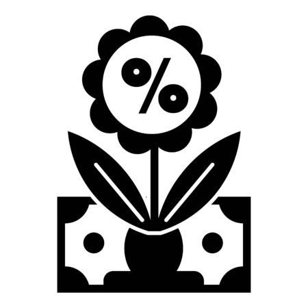 Money percent flower icon, simple style Illustration
