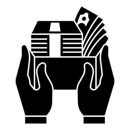 Money box icon, simple style