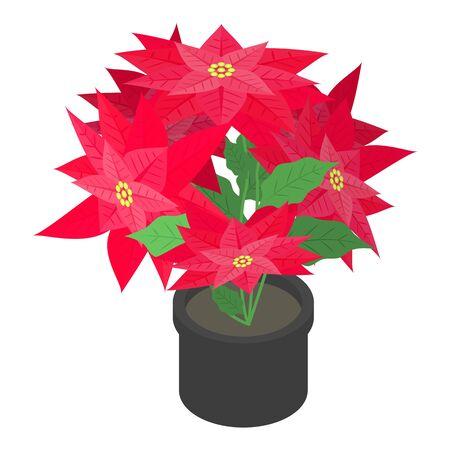 Poinsettia pot icon, isometric style