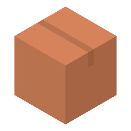 Parcel box icon. Isometric of parcel box vector icon for web design isolated on white background