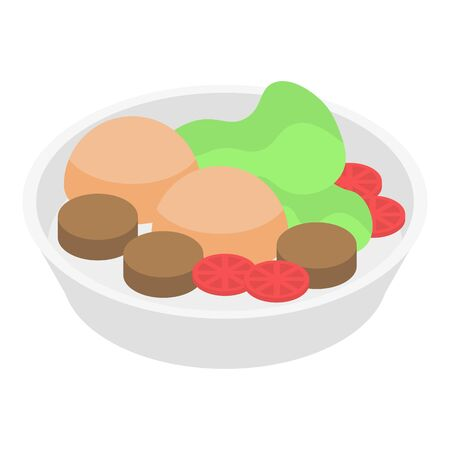 Shelter food plate icon. Isometric of shelter food plate vector icon for web design isolated on white background 向量圖像