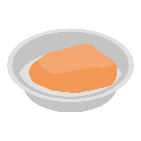 Food in plate icon, isometric style