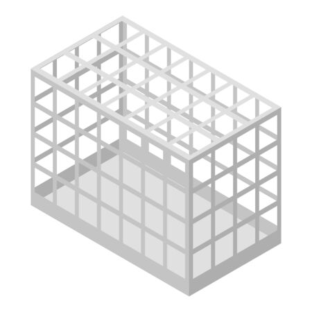 Pet cage icon, isometric style Illustration