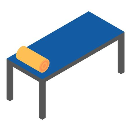 Long metal bed icon, isometric style