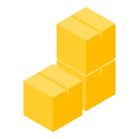 Parcel box stack icon, isometric style