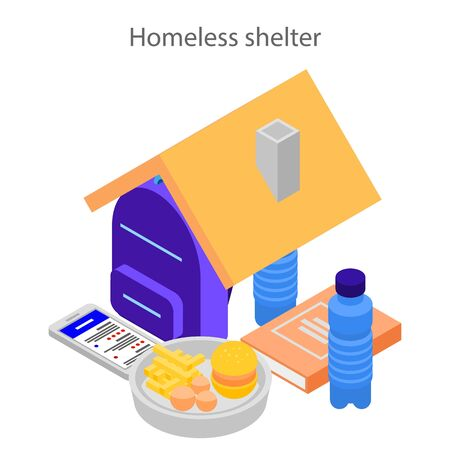 Homeless shelter concept background, isometric style