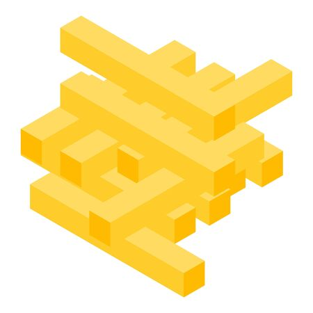 Fries potato icon, isometric style