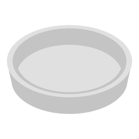 Empty food plate icon, isometric style Illustration