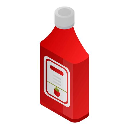 Ketchup bottle icon, isometric style