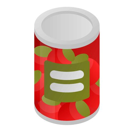 Tomato tin can icon, isometric style