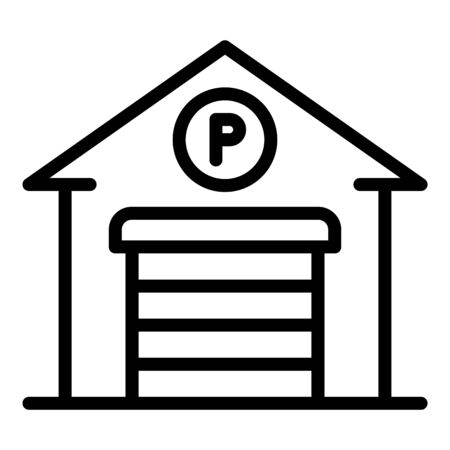 Garage parking icon. Outline garage parking vector icon for web design isolated on white background