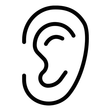 Ear icon. Outline ear vector icon for web design isolated on white background Ilustração