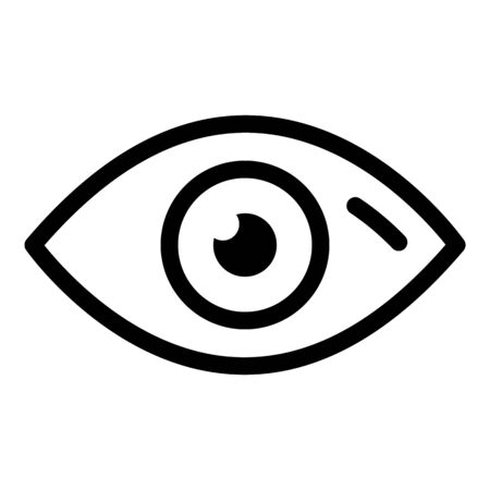 Human eye icon. Outline human eye vector icon for web design isolated on white background