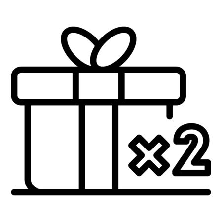 Double loyalty gift box icon, outline style