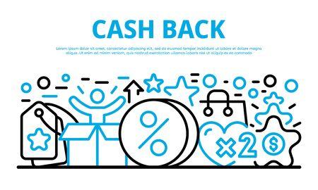 Cash back banner. Outline illustration of cash back vector banner for web design