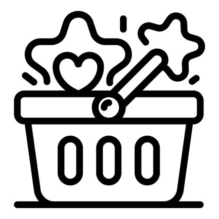 Bonus market basket icon. Outline bonus market basket vector icon for web design isolated on white background