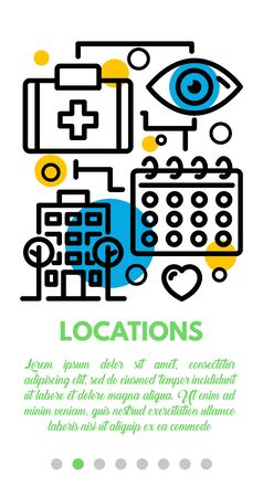 Medical locations banner. Outline illustration of medical locations vector banner for web design