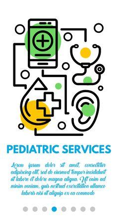 Pediatric services banner. Outline illustration of pediatric services vector banner for web design Foto de archivo - 131291606