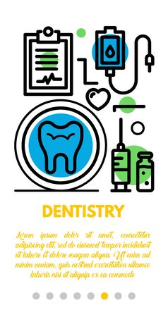 Dentistry banner. Outline illustration of dentistry vector banner for web design
